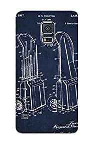 Yzfjcw-5240-qpydxao Tpu Phone Case With Fashionable Look For Galaxy S5 - Vintage Golf Cart Drawing From 1943 Case For Christmas Day's Gift
