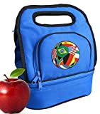 Flag Soccer Ball Lunch Bags Two Section Insulated Flags Soccer Ball Lunch Bag