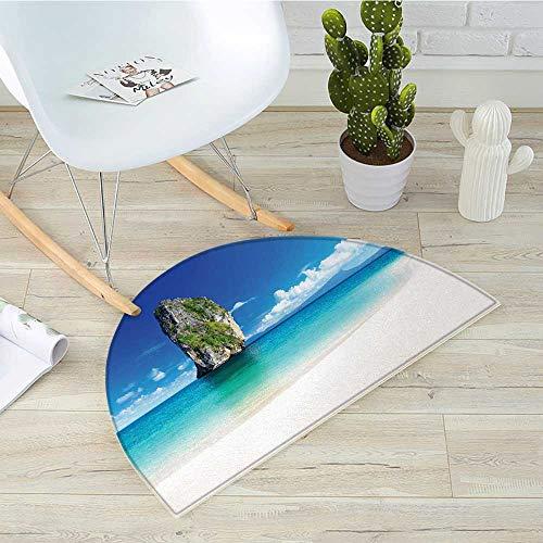 Island Half Round Door mats Big Tall Poda Cliff Rock in The Sea in Asian Coastline Exotic Vacation Scene Bathroom Mat H 35.4