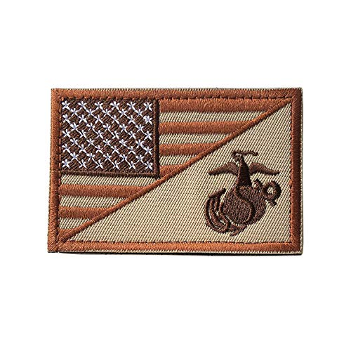 - USA American Flag w/Marine Corps USMC Military Tactical Morale Badge Patch 3