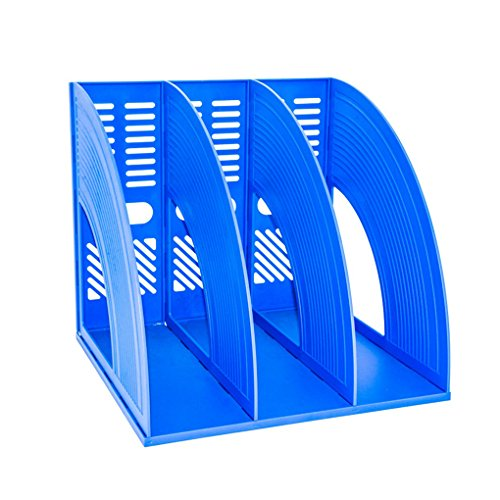 Desk File Organiser,SAYEEC Sturdy Desktop Triplicate Magazine Plastic Holders Frames File Dividers Document Cabinet Rack Display and Storage Organiser Box Blue