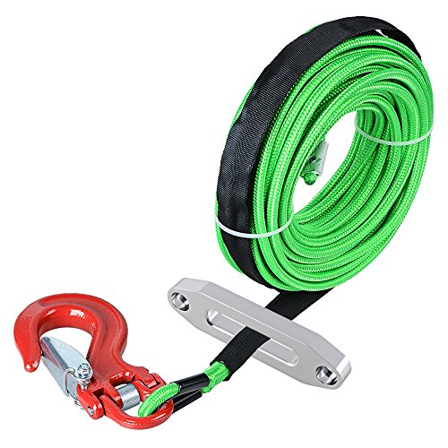 Astra Depot 50' x 1/4 Green Rock and All Heat Guard Synthetic Winch Rope Cable 7000LBS w/RED Heavy Duty Half-Linked Hook + Hawse Fairlead for Car ATV UTV Ramsey KFI