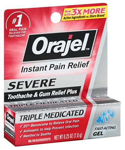 Orajel Severe Triple Medicated Instant Pain Relief 0.25 Ounce Gel (7ml) (3 Pack)