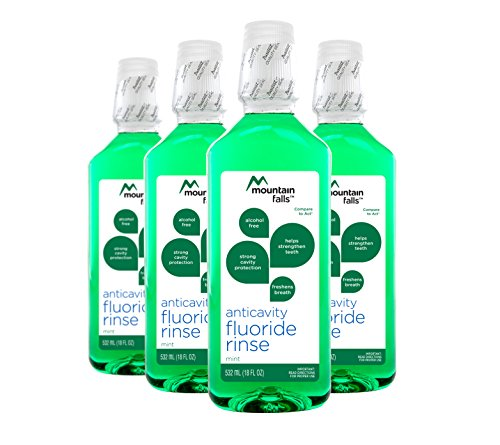 Mountain Falls Anticavity Fluoride Rinse, Mint, Compare to ACT, 18 Fluid Ounce (Pack of 4) (Mouthwash Flouride)