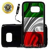 Custom Galaxy S7 Case (Red White Green Italian Italy Flag) Edge-to-Edge Plastic Black Cover Ultra Slim | Lightweight | Includes Stylus Pen by Innosub