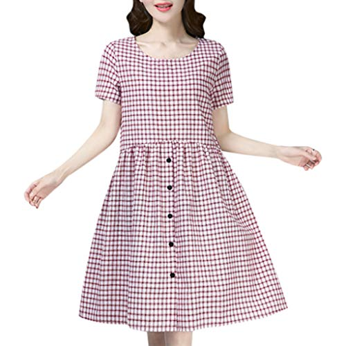(Women's Casual Knee-Length Dress Vintage Plaid Print Short Sleeve Ladies O-Neck Red)