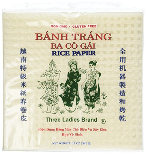 (2 Packs Square Three Ladies Rice Paper Wrappers (22cm))