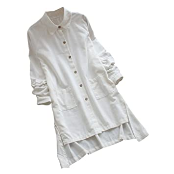 8de8787f8c3 Long Cotton Shirt Clearance Plus Size Women s Long Sleeve Loose Casual  Pocket Button Long Tops Shirt