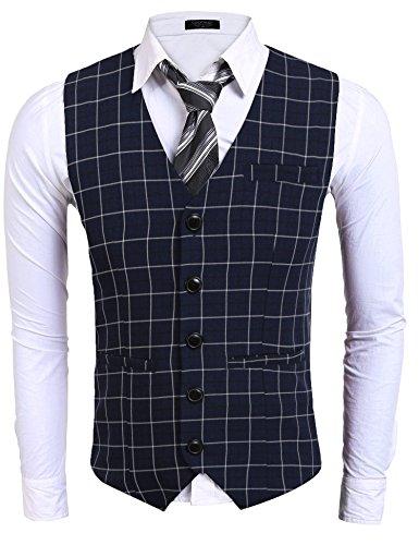 Dongba Men's Suit Vest, V-Neck 5 Button Plaid Slim Formal Business Casual Waistcoat (5 Button Vest)
