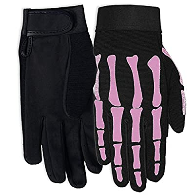 Hot Leathers Women's Pink Skeleton Mechanic Gloves (Black, Small): Automotive