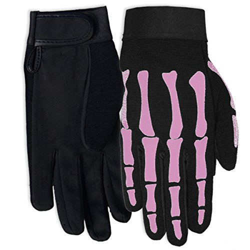 Hot Leathers Women's Pink Skeleton Mechanic Gloves (Black, Small) -