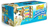 Friskies Cat Food Classic Pate, 4-Flavor Seafood Variety Pack, 5.5-Ounce Cans (Pack of 32), My Pet Supplies