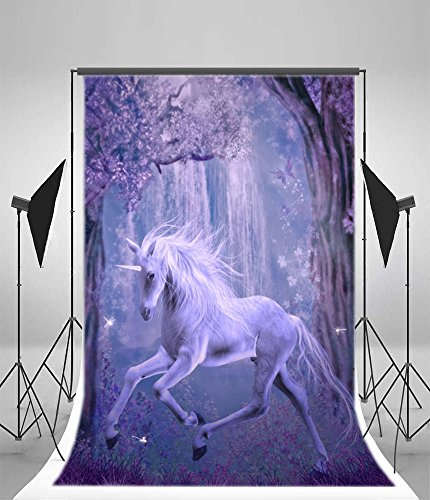 Hazy Violet - Laeacco 5x7ft Vinyl Photography Background the Last Unicorn Background Dreamy Fairytale Forest Trees Hazy Trees Flowers Dragonfly Violet Fantasy Children Birthday Party Holiday Photo Studio Prop