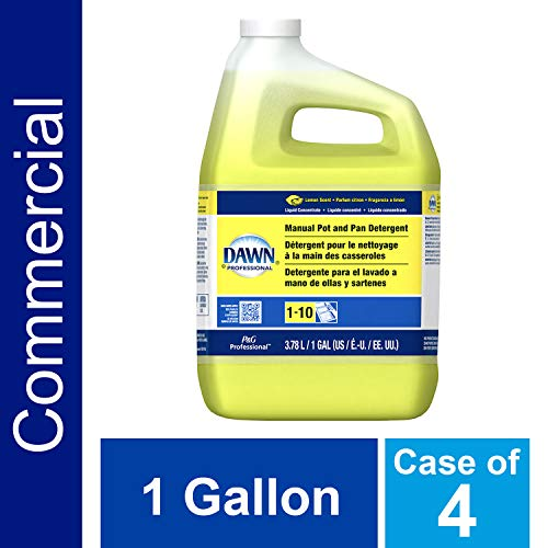 Dishwashing Liquid Soap Detergent by Dawn Professional, Bulk Degreaser Removes Greasy Foods from Pots, Pans and Dishes in Commercial Restaurant Kitchens, Lemon Scent, 1 gal. (Case of 4)