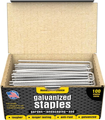 (100 6-Inch Galvanized Garden Landscape Sod Staples - Anti-Rust 11-Gauge Pins - Stakes for Weed Barrier Fabric, Ground Cover and Landscaping - Made in)