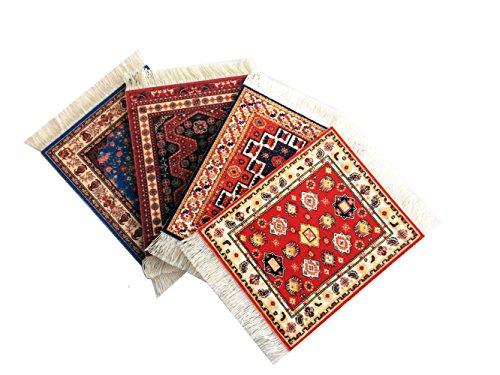(Set of 4 Rug Table Coasters - Persian Design Fabric Carpet Drink Mats (Mix))