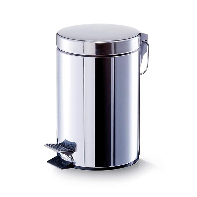 Zeller 18207 - Cubo de basura con pedal, ø17 cm, altura 26 cm, 3 litros, color mármol: Amazon.es: Hogar