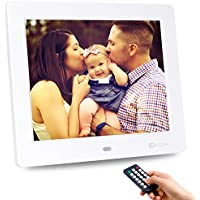 Advanced Digital Picture Photo Frame - HD 1024x768 (16:9) IPS Widescreen MP3 MP4 Video Player with Calendar/Clock/Remote Control White 8-inch