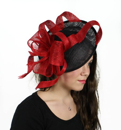 Hats By Cressida 13 Inch Flora Dora Sinamay Ascot Fascinator Hat Women's With Headband - Black/Red by Hats By Cressida