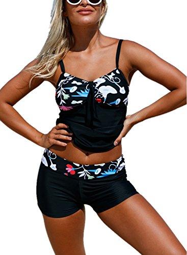 AlvaQ WomenPushupHalter Printed Sexy 2PieceSlimmingSwimsuits TankiniTop JuniorsBlackMedium