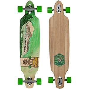 "Sector 9 Green Wave Lookout II Drop-Thru Bamboo Complete Downhill Longboard Skateboard - 9.6"" x 42"""