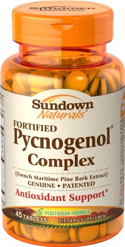 Sundown Naturals Fortified Pycnogenol Complex, Antioxidant Protection, 45 Tablets (Pack of 2)
