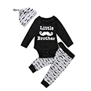 Honganda 3Pcs Baby Boy Little Brother Romper Tops+Moustache Pants With Hat Outfit Clothes Set (0-6 Months, Black)