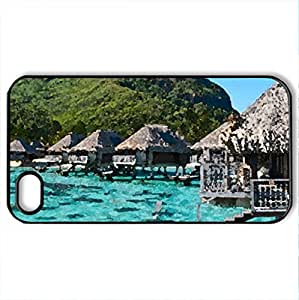 fantastic bungalows on stilts in a lagoon - Case Cover for iPhone 4 and 4s (Houses Series, Watercolor style, Black)