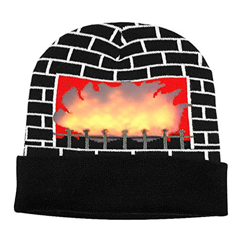 Luwint LED Burning Fireplace Beanie hat Funny Fire Flashing Glow Christmas Costume Knit Cap with 2 More Batteries (Black) -