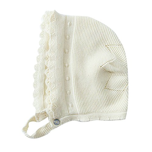 Toubaby Toddler Girl Autumn Winter Pink Lace Bonnet Baby Hats 0-18M (0-6M, white)