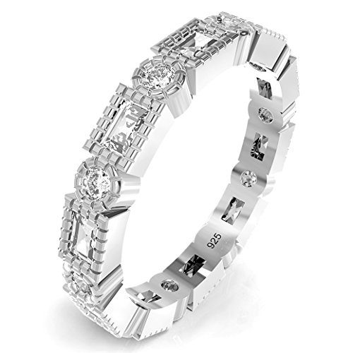 925 Sterling Silver Costume Jewelry - Metal Factory Sz 8 Sterling Silver Radiant & Round Cut CZ Stackable Anniversary Eternity Cubic Zirconia Band Ring