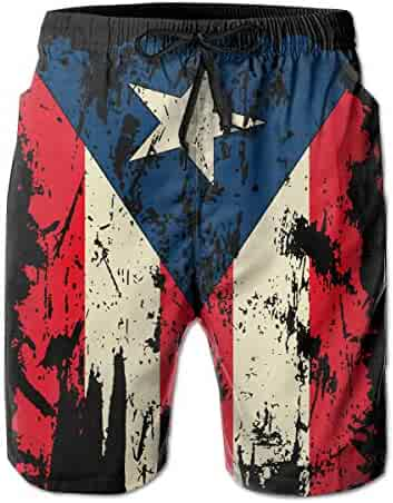 3c64d6d8f7 Vintage Distressed Puerto Rico Flag Mens Swim Trunks Quick Dry Waterproof  Beach Pants Beach Board Shorts