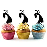 TA0014 Belly dance Silhouette Party Wedding Birthday Acrylic Cupcake Toppers Decor 10 pcs