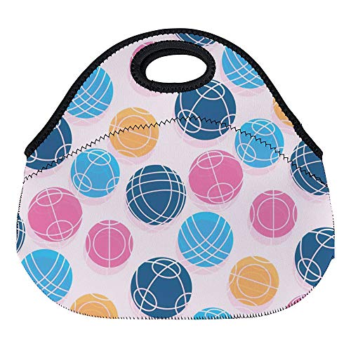 DKISEE Bocce Ball Large & Thick Neoprene Lunch Bags Insulated Lunch Tote Bags Cooler Warm Warm Pouch with Shoulder Strap for Women Teens Girls Kids Adults
