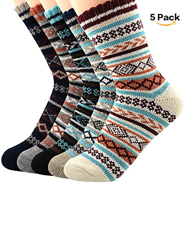 Century Star Womens Ultra Light Thermal Cashmere Wool Full Cushion Crew Cute Winter Socks 5 Pairs - Shipping Usps To Uk