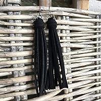 Black Faux Suede Leather Tassel Earrings