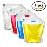 Pack4Life 4 Count Water Storage Container 5 Litres Collapsible Water Bag, BPA Free Plastic Water Carrier for Sport Camping Riding Hiking (4 Pack)