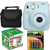 Fujifilm Instax Mini 8 Instant Film Camera (Blue) With Fujifilm Instax Mini 5 Pack Instant Film (50 Shots) + Compact Bag Case + Batteries Top Kit - International Version (No Warranty)