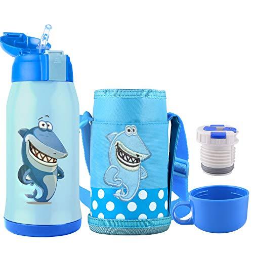 Bioasis Botella Termica Ninos Infantil Agua Acero Inoxidable Termo Sin Bpa Taza Viaje, 600ML, Azul