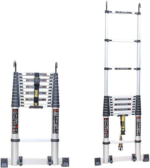 DZWSD Escaleras de Aluminio Escalera Telescópica con Gancho Industrial Estabilizador Telescópico Escalera Recta De múltiples Fines Escalera portátil Capacidad de Carga hasta 150 kg: Amazon.es: Hogar