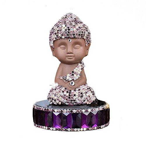 Sinymilk Black Ceramic Round Bottom Buddha Handmade Drill Car Perfume Holder Home Decoration Ornaments -