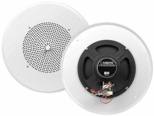 C1090 8-Inch 70V Commercial Audio 5W 2.5W 1.25W 0.36W .32W Transformer Tap Ceiling Speaker with Front Volume Control 12-Inch Grill - OSD Audio - (Single, White)