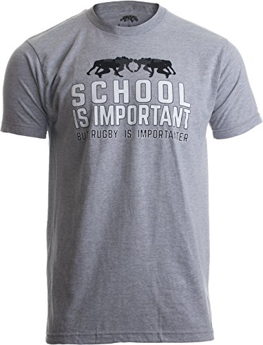Ann Arbor T-shirt Co. School Is Important, But Rugby Is Importanter | Funny Rugger Unisex T-Shirt-Adult,S (Rugby School Shirt)