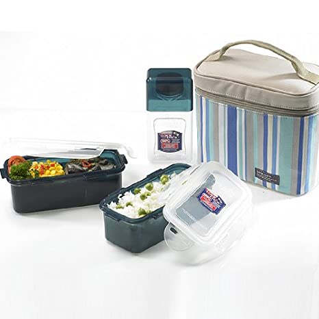95498f90311c Lock&Lock Blue Double Zip Bag Lunch Box Set with BPA Free Containers with  Leak Proof Locking Lids