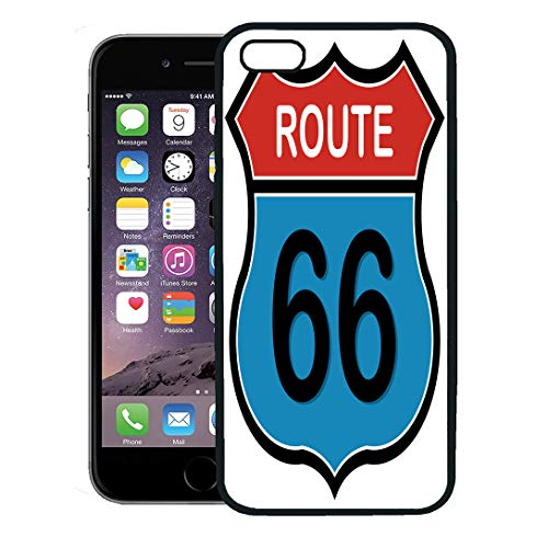 Semtomn Phone Case for iPhone 8 Plus case,Highway Route 66 Sign Interstate Road Car Freeway Classic iPhone 7 Plus case Cover,Black