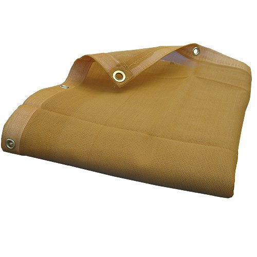14'X14' (Beige / Tan) Heavy Duty Mesh Tarp Net Sail Sun Shade Awning and Fence Screen Patio and Canopy Cover by EZ Travel Collection