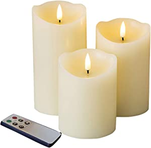 Eywamage Real Wick Wax Flameless Candles with Remote Set of 3, Electric LED Pillar Candles Battery Operated Ivory Timer Fake Candles, 3 Inch Diameter 4 5 6 Inch Tall