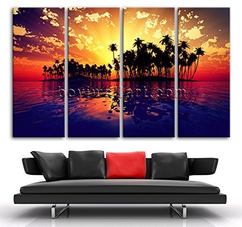 Extra Large Art Print On Canvas Contemporary Seascape Sunset Palm Tree Landscape, Oversized Beach Wall Art, Living Room, Burnt Crimson