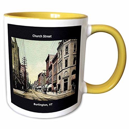 3dRose Sandy Mertens Vermont - Church Street, Burlington, VT (Vintage 1907) - 11oz Two-Tone Yellow Mug - Street Burlington 2 Church Vt