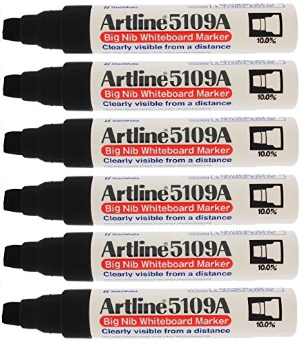 Artline 5109A Big Nib Extra Large Jumbo Dry Erase Whiteboard Markers (BLACK, Pack of 6) (Markers Shachihata Black)